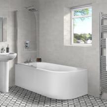 Portland 1700 x 725 J Shaped Left Hand Bath with Front Panel and Curved Screen