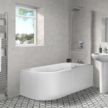 Portland 1700 x 725 J Shaped Right Hand Bath with Front Panel and Curved Screen