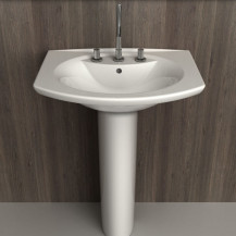 Pavia White 3TH Ceramic Pedestal Basin