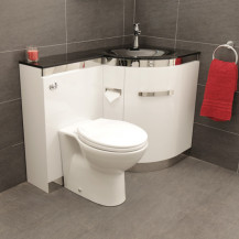 Vigo Right Hand Corner Combination Unit with Black Basin