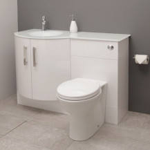 Vigo Left Hand Bow Front Combination Unit with White Basin