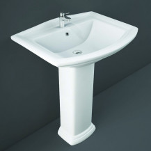 RAK Washington 650mm 1TH Basin and Full Pedestal