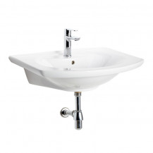 Pavia 1 tap hole White Ceramic Wall Hung Basin