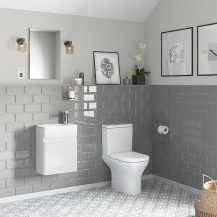 Portland 410 Wall Mounted Ice White Gloss Vanity Unit with Portland Close Coupled Toilet