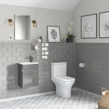 Portland 410 Wall Mounted Crisp Mist Gloss Vanity Unit with Portland Close Coupled Toilet