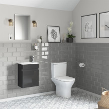 Portland 410 Wall Mounted Storm Grey Gloss Vanity Unit with Portland Close Coupled Toilet