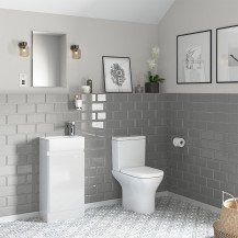 Portland 410 Floor Standing Ice White Gloss Vanity Unit with Portland Close Coupled Toilet