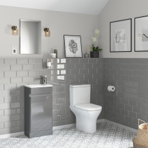 Portland 410 Floor Standing Crisp Mist Gloss Vanity Unit with Portland Close Coupled Toilet