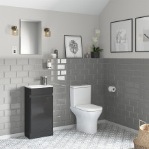 Portland 410 Floor Standing Storm Grey Gloss Vanity Unit with Portland Close Coupled Toilet