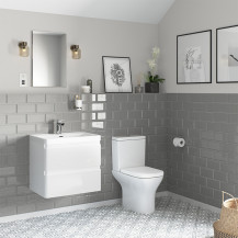 Portland 600 Wall Mounted Ice White Gloss Vanity Unit with Portland Close Coupled Toilet