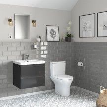 Portland 600 Wall Mounted Storm Grey Gloss Vanity Unit with Portland Close Coupled Toilet
