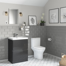 Portland 600 Floor Standing Storm Grey Gloss Vanity Unit with Portland Close Coupled Toilet