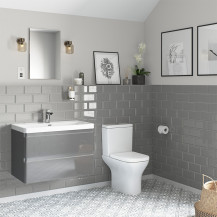 Portland 800 Wall Mounted Crisp Mist Gloss Vanity Unit with Portland Close Coupled Toilet