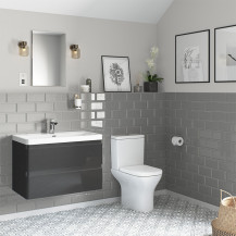 Portland 800 Wall Mounted Storm Grey Gloss Vanity Unit with Portland Close Coupled Toilet