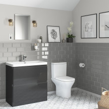 Portland 800 Floor Standing Storm Grey Gloss Vanity Unit with Portland Close Coupled Toilet