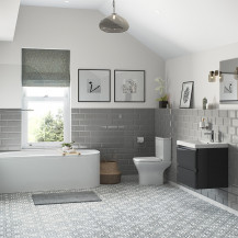 Portland 600 Wall Mounted Storm Grey Gloss Vanity Unit with Left Hand Bath and Close Coupled Toilet