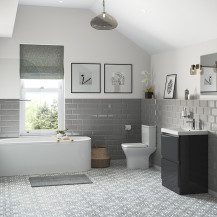 Portland 600 Floor Standing Storm Grey Gloss Vanity Unit with Left Hand Bath and Close Coupled Toilet