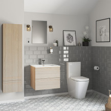 Boston 600 Sandy Oak Wall Mounted Furniture Pack with Boston Close Coupled Toilet