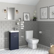 Nottingham 400 Indigo Blue Vanity Unit with Tabor Close Coupled Toilet