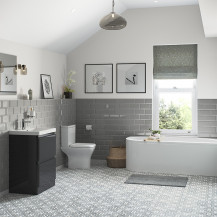 Portland 600 Floor Standing Storm Grey Gloss Vanity Unit with Right Hand Bath and Close Coupled Toilet