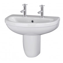 Premier Ivo 550mm Basin 2TH & Semi Pedestal