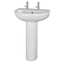 Premier Ivo 550mm 2TH Basin & Pedestal