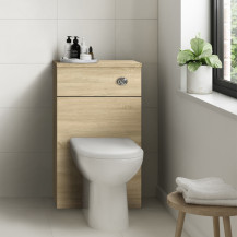 Ashford Natural Oak WC Unit with Santorini Back to Wall Toilet