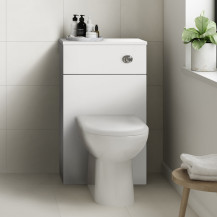 Ashford White Gloss WC Unit with Santorini Back to Wall Toilet