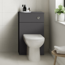 Ashford Grey Gloss WC Unit with Santorini Back to Wall Toilet