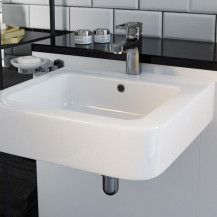 Aviso 845mm 1 Tap Hole White Ceramic Wall Hung Basin
