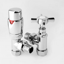 Thermostatic Traditional Crosshead Angled Chrome Radiator Valve