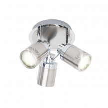 Tauros Chrome/Brushed Steel Trio Ceiling Spotlight