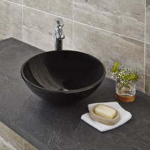 Arabella Black Painted Glass Basin