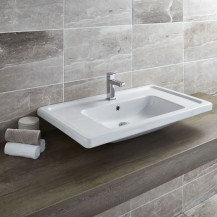 Aviso 850mm White Ceramic Wall Hung Basin