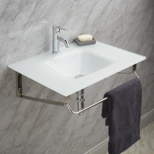 Siena White Glass Wall Mounted Basin