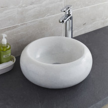 Lucia Crystal Grey-White Marble Basin