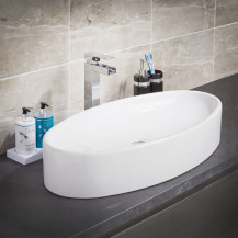 Mila White Ceramic Counter Top Vessel Basin