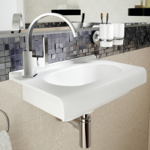 Enza White Ceramic Wall Hung Flat Basin
