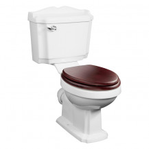 Victoriana Traditional Toilet with Sit Tight Mahogany Effect Solid Wood Toilet Seat with Chrome Hinges