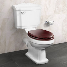 Victoriana Traditional Toilet with Sit Tight Mahogany Effect Solid Wood Toilet Seat with Brass Hinges