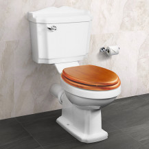 Victoriana Traditional Toilet with Sit Tight Antique Pine Effect Solid Wood Toilet Seat with Chrome Hinges