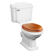 Victoriana Traditional Toilet with Sit Tight Antique Pine Effect Solid Wood Toilet Seat with Brass Hinges