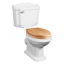 Victoriana Traditional Toilet with Sit Tight Solid Oak Toilet Seat with Brass Hinges