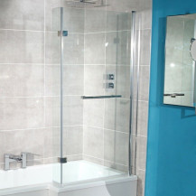 L-Shaped Hinged Bath Shower Screen with Towel Rail