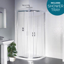 Aqualine 900 x 900 Sliding Door Quadrant Shower Enclosure with Shower Tray