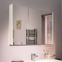 Windsor / Cuba / Aspen 90cm 3 Door White Mirror Cabinet