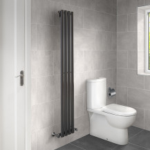 Nevada Beta Heat 1600 x 240mm Single Oval Panel Anthracite Vertical Radiator