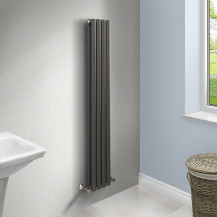 Nevada Beta Heat 1600 x 240mm Double Oval Panel Anthracite Vertical Radiator