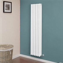 Langham 1600 x 345mm Double Round Panel White Vertical Radiator