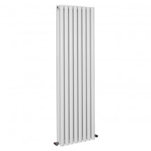 Langham 1600 x 465mm Double Round Panel White Vertical Radiator